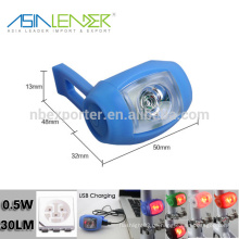 0.5W 100% Beleuchtung -50% Lighting-Flash USB Silikon Fahrrad Licht