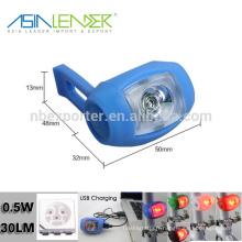 0.5W 100% éclairage -50% éclairage-flash USB Silicone Bicycle Light