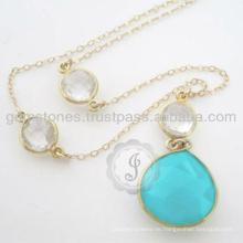 Vermeil natürliche silberne Edelstein-hängende Halskette für bestes Geschenk
