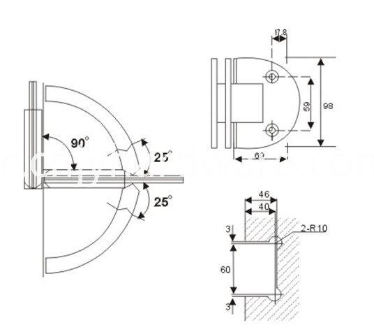 90 degree hinges for glass