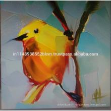 Peinture à l'huile d'oiseau jaune