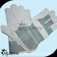 SRSAFETY green striped cotton back construction cow leather gloves