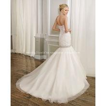 Ballkleid bodenlangen Perlen gekräuselten Brautkleid