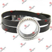 Schwarze Leder Runde Locket Armbänder für Mann (LFL120)