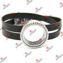 Black Leather Round Locket Bracelets for Man (LFL120)