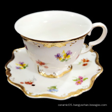 Luxury 12PCS  gold rim afternoon tea style  porcelain coffee cup and saucer  Tea Set