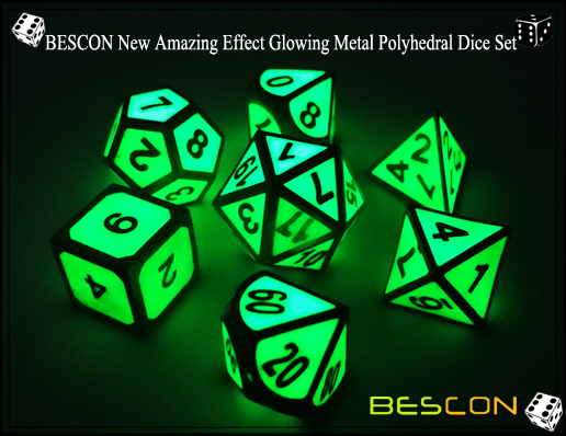 BESCON New Amazing Effect Glowing in the Dark Metal Polyhedral Role Playing RPG Game Dice Set of 7-3