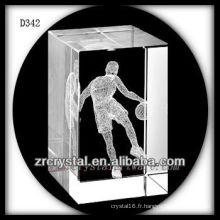 Basketball 3D de laser de K9 à l'intérieur du rectangle en cristal