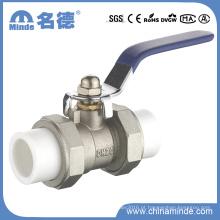 Válvula de esfera de União Dupla PPR Núcleo e Corpo de Cobre para Materiais de Construção