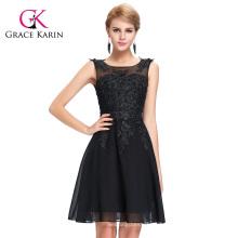 Grace Karin Sleeveless Crew Neck Black Chiffon Short Prom Dress GK000063-1