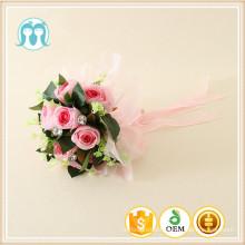 Fleurs en plastique pour mariage / filles fleurs pour la mariée pour la vente en gros, fabrication chinoise artificielle