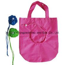 Bolso promocional de compras plegables de nylon en bolsa