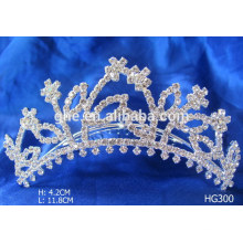 Rhinestone nupcial tiara y rhinestone embellecimientos gabinete corona moldeado