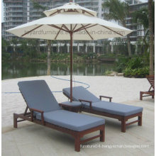 Patio Wood Beach Chair with UV Protected Blue Bottom Cushion for Hotel Backyard Lawn Lounging