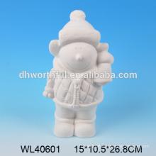2016 new arrival ceramic snowman figurine,white porcelain snowman figurine