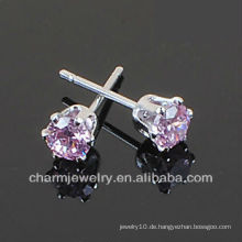 316 L Edelstahl Runde Amethyst Solitaire Ohrstecker SE-007A