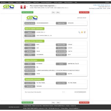 Vehículo eléctrico - Datos de importación de aduanas locales de Perú