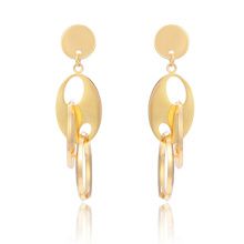 New Style 18K Gold Arabic Gold Circle Long Dangle Steel Earring Designs