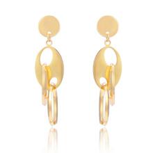 Новый стиль 18k золото арабское золото длинные мотаться серьги круг стальной конструкции