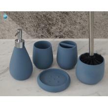 5 Stück Polyresin Badezimmer Set mit Cup, Tray - Seifenspender und Zahnbürstenhalter