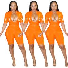 OEM Factory Fashion Wholesale Jumpsuits Letter Print Set Bodycon Tracksuit Jumpsuit Women