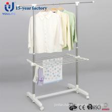 Stainless Steel Single Pole Telscopic Garment Hanger with Racks