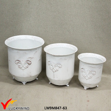 Set 3 Cream Decorative Antique Garden Metal Flower Pot