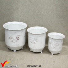 Set 3 Cream Decorative Antique Garden Pot de fleurs en métal