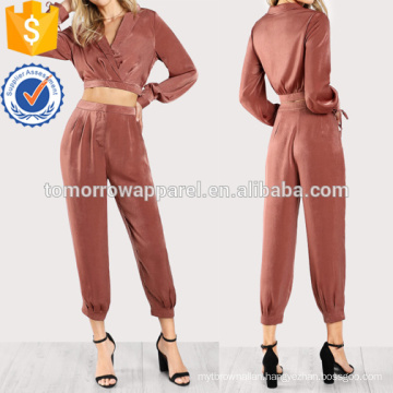 Satin Tie Long Sleeve Crop Top & Matching Pants Set Manufacture Wholesale Fashion Women Apparel (TA4120SS)