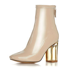 Wholesale Woman Patent Leather High Crystal Heels Zip Back Ankle Boots