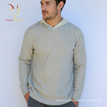 Mens Cashmere Hoodie Sweater with Cable Design