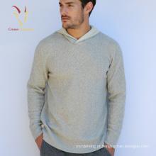 Mens Hoodie Cashmere Sweater com Design de Cabo