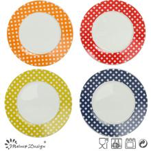 Placa de la ensalada de la porcelana del 20.5cm con la etiqueta