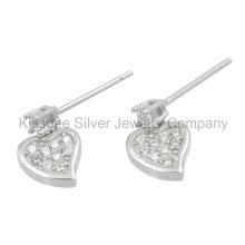 Art und Weise hören Ohrringe 925 Sterlingsilber-Schmucksache-CZ-Tropfen-Ohrringe (KE3071)