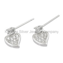 Fashion Hear Earrings 925 Sterling Silver Jewelry CZ Drop Earrings (KE3071)