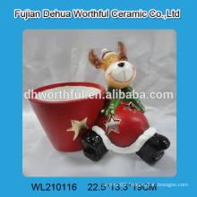 Ceramic christmas flower vases with cute reindeer design