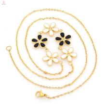 Heißer Verkauf Edelstahl Mode Blume vergoldet Halskette Kette für Frauen