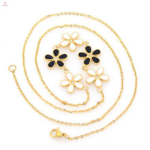 Venda quente de aço inoxidável moda flor banhado a ouro cadeia colar para as mulheres