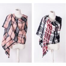 Caxemira da mulher como o clássico verificado lenço de xale de malha de inverno impressão (sp304)