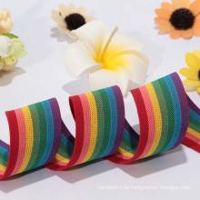 La venta directa de la fábrica 2014The más popular que hace punto la cinta elástica / cinta del elástico del arco iris