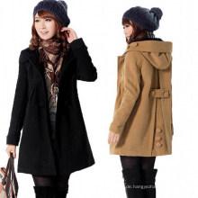 Neue Frauen stilvolle Wolle warme lange Mantel Jacke Mantel (50029-1)