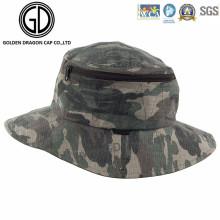 Clásico Verde Camo Impermeable Fisherman Zipper Bucket Hat con bolsillo