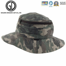 Classic Green Camo Waterproof Fisherman Zipper Bucket Hat avec poche
