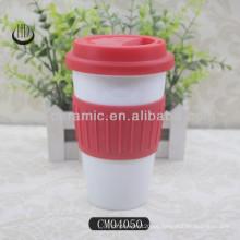 Vaso de cerámica de doble pared de 12 onzas con tapa de silicona