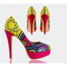 2016 New African Printed Fabrics Fashion High Heel Shoes (HCY02-1354)