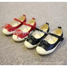 Cómodos niños tacón plano zapatos casuales con bowtie velcro correa espadrilla zapatos chicas