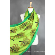 Lady Fashion Viskose Baumwolle Polyester gestrickt Seide bedruckt Schal (YKY1023)