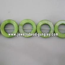 green donut shape fresh water shell beads
