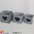 Quadratische Vintage verzinkte Blech-Kreide-Brett-Pflanzgefäße