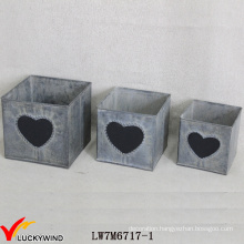 Square Vintage Retro Galvanized Sheet Metal Chalk Board Planter Boxes